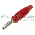 Banana 4mm | Plug | 30A | 30VAC - 60Vdc | Solder | Ni Brass | Red