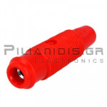 Banana 4mm | Socket | 30A | 35VAC - 70Vdc | with Screw | Ni Brass | Red