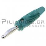 Banana 4mm | Plug | 30A | 30VAC - 60Vdc | Solder | Ni Brass | Green