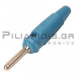Banana 4mm | Plug | 30A | 30VAC - 60Vdc | Solder | Ni Brass | Blue