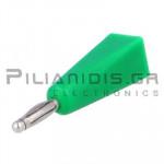 Banana 2mm | Plug | 10A | 30VAC - 60Vdc | Solder | Ni Brass | Green