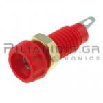 Banana Socket 4mm |  Ø11.2/(8)mm | 10A | 30VAC 30Vdc | Brass | Red