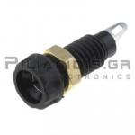 Banana Socket 4mm | Ø11.2/(8)mm | 10A | 30VAC 30Vdc | Brass | Black