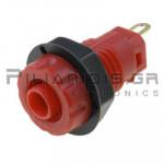 Banana Socket 4mm | Ø14/(12.1)mm | 30A | 1000V CATIII | Gold Brass | Red