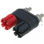 Banana Socket Double 4mm |  Ø13.4/(7.2)mm | 30A | 30VAC - 60Vdc | Brass | Red - Black