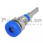 Banana Socket 2mm |  Ø8.4/(6.0)mm | 10A | 30VAC - 60Vdc | Solder | Ni Brass | Blue