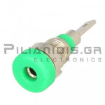 Banana Socket 2mm |  Ø8.4/(6.0)mm | 10A | 30VAC - 60Vdc | Solder | Ni Brass | Green