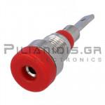 Banana Socket 2mm |  Ø8.4/(6.0)mm | 10A | 30VAC - 60Vdc | Solder | Ni Brass | Red