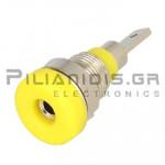 Banana Socket 2mm |  Ø8.4/(6.0)mm | 10A | 30VAC - 60Vdc | Solder | Ni Brass | Yellow