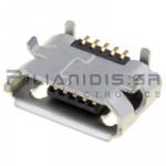 CONNECTOR USB micro B 5pin(ΕΠΙΧΡΥΣΑ) ΘΗΛΥΚΟ PCB SMT