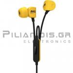 Ακουστικά Stereo Ψείρες 20Hz - 20KHz 115dB/38Ω 1.15m + MIC Κίτρινο