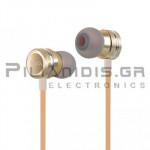 ΑΚΟΥΣΤΙΚΑ ΨΕΙΡΕΣ (20Hz - 20KHz) + MIC 1.20m με ρυθμιστή ήχου Χρυσό