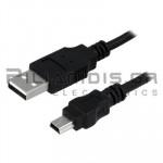 ΚΑΛΩΔΙΟ USB A ΑΡΣΕΝΙΚΟ - USB B mini ΑΡΣΕΝΙΚΟ 1.8m ΜΑΥΡΟ