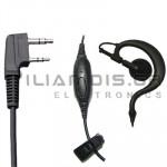 Μικρόφωνο πέτου + Ακουστικό ρυθμιζόμενο PTT/VOX (2pin Kenwood L)