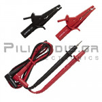 Test Leads 2mm | 600V - 10A | CATIII 1000V CATIV 600V | Red - Black | 0.9m | With Crocodile clips