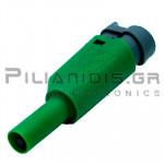 Banana 4mm | Stackable Plug | 36A | 1000V CATIII | Screw | Ni Brass | Green