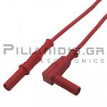 Καλώδιο Πολυμέτρου 1.0mm² | 4mm | Αρσενικό - Αρσενικό Γωνία | 20A | 1000V CATIII | 1m | Κόκκινο