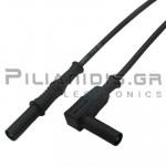 Καλώδιο Πολυμέτρου 1.0mm² | 4mm | Αρσενικό - Αρσενικό Γωνία | 20A | 1000V CATIII | 1.5m | Μαύρο