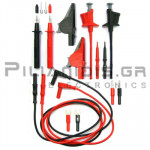 Σετ Ακροδέκτες Πολυμέτρου | 16 Τεμάχια | 36A | 1000V CATIII | Σύνδεση: 4mm | Με Καλώδια 1.0m