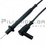 Ακροδέκτης Πολυμέτρου 1.0mm²| Silicone | 2mm | Σύνδεση: 4mm Αρσενικό Γωνία | 20A | 1000V CATII | 1m