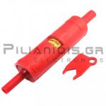Adaptor 4mm Αρσενικό - Θηλυκό | Ασφαλειοθήκη 10x38mm | 20A | 500VAV CATIII | Κόκκινο