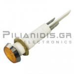 Ενδεικτική λυχνία NEON O10mm 230VAC κίτρινη με FASTON