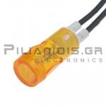 Ενδεικτική λυχνία NEON Ø12mm 230VAC κίτρινη με καλώδιο
