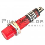 Indicator Neon; Red 230VAC; Drilling O7mm