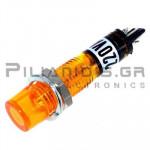 Indicator Neon; Orange 230VAC; Drilling O7mm