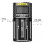 Φορτιστής Li-Ion & Ni-MH x 2θέσεων 3.0A,  (Vin: 5Vdc / 2Α ή 9Vdc / 2A, 18W, Micro USB)
