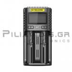 Φορτιστής Li-Ion & Ni-MH x 2θέσεων 4.0A,  (Vin: 5Vdc / 2Α ή 9Vdc / 2A, 18W, Micro USB)
