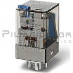 Relay Ucoil: 220VDC 37,3K 10A/250VAC 3PDT